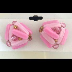 VINTAGE HandBeaded Pink Earrings Made in Hong Kong